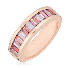 0.97ct Tanzanite & Pink Tourmaline Band Ring Sterling Silver