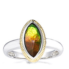 Canadian Ammolite Faceted Marquise Ring w/ Gold Plating Accent Sterling Silver