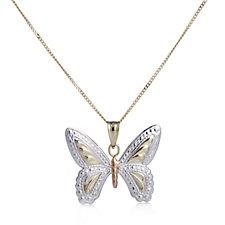 9ct Gold Tri-Colour Diamond Cut Butterfly Pendant & 45cm Chain