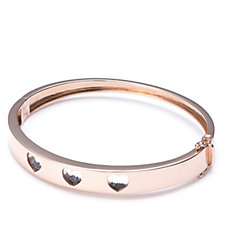 Diamond Heart Bangle by Charlie Brook Sterling Silver