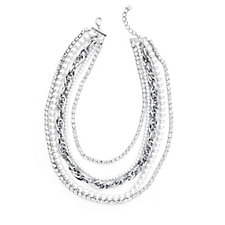 Loverocks Simulated Pearl & Crystal Layered Necklace