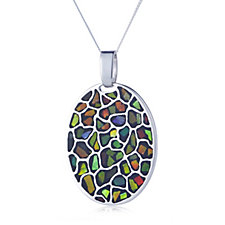 Canadian Ammolite Elements Oval Pendant & Chain Sterling Silver
