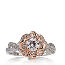 Diamonique 0.7ct tw Mixed Plate Cluster Ring Sterling Silver