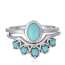 Sleeping Beauty Turquoise Set of 2 Stacking Rings Sterling Silver