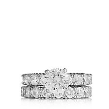 Michelle Mone for Diamonique 7ct tw Set of 2 Eternity Rings Sterling Silver