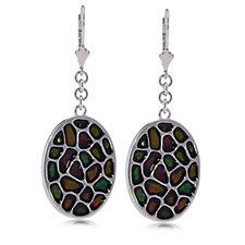 Canadian Ammolite Elements Oval Drop Earrings Sterling Silver