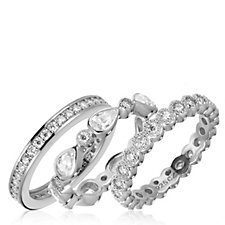 Diamonique 3.3ct tw Set of 3 Eternity Rings Sterling Silver