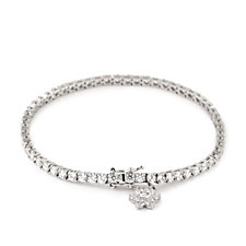 Diamonique 5.8ct tw Flower Charm Tennis 19cm Bracelet Steling Silver