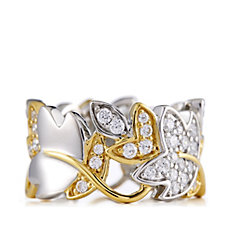 Diamonique 1ct tw Leaf Band Ring with Gold Plated Accent Sterling Silver