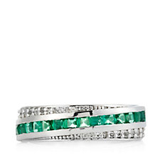 0.65ct Emerald Band Ring Sterling Silver