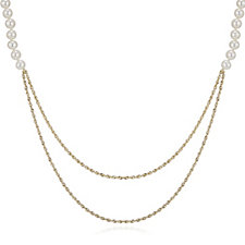 Honora 5-6mm Cultured Pearl & Double Row Gold Glitter Necklace 9ct Gold