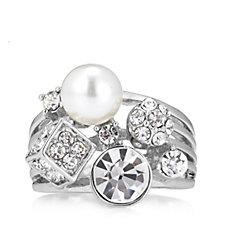 Loverocks Simulated Pearl & Crystal Multi Layer Ring