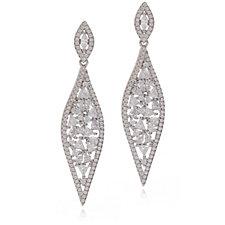 Diamonique 4ct tw Mixed Cut Spike Earrings Sterling Silver
