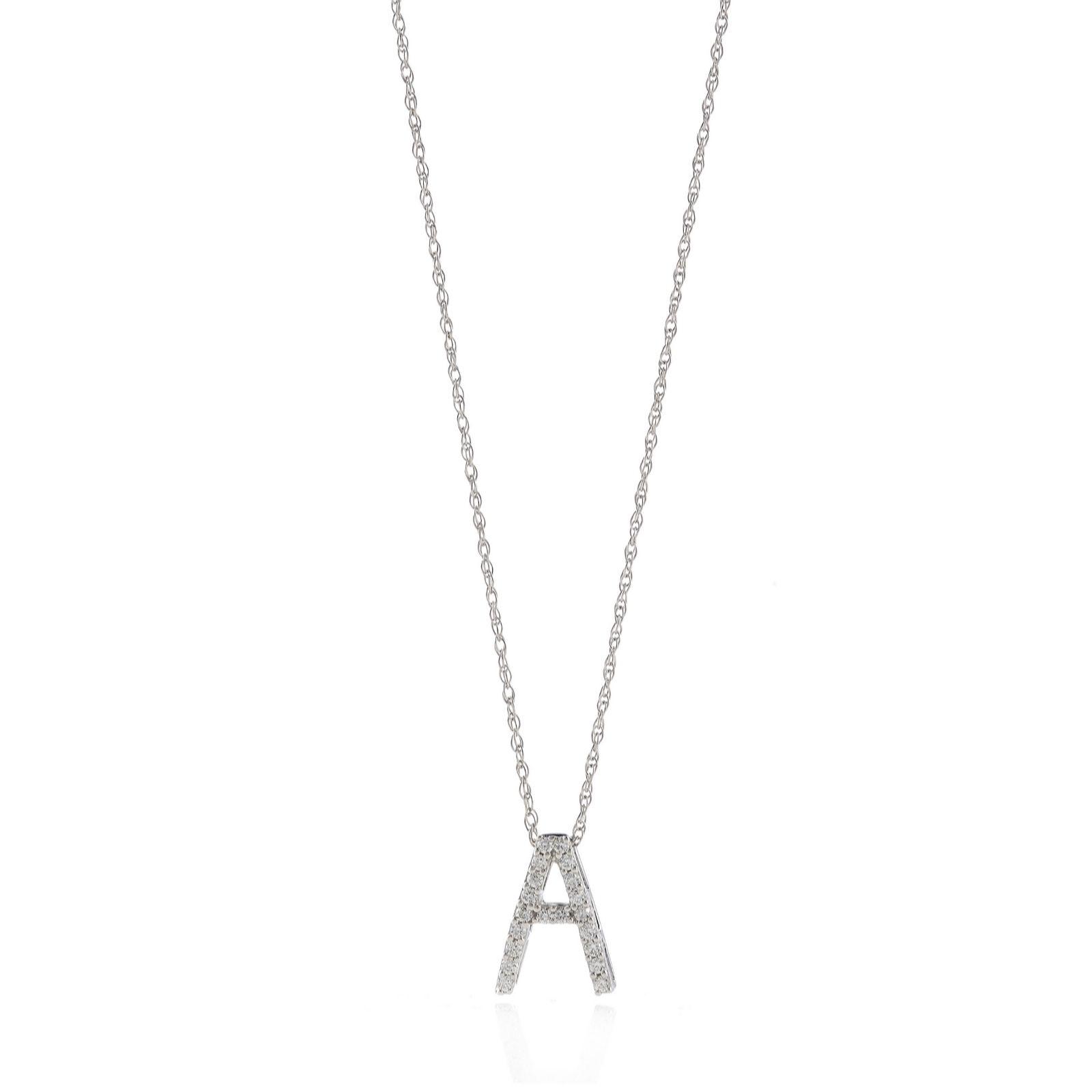 3f2593c365b 0.10ct Diamond Initial 45cm Necklace 9ct Gold - QVC UK