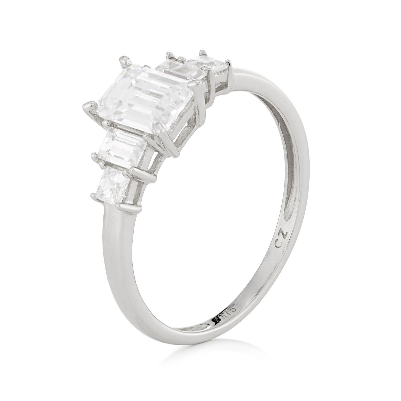 f74a1e990b2ec0 Diamonique 1.4ct tw Emerald Cut Ring 9ct Gold - QVC UK
