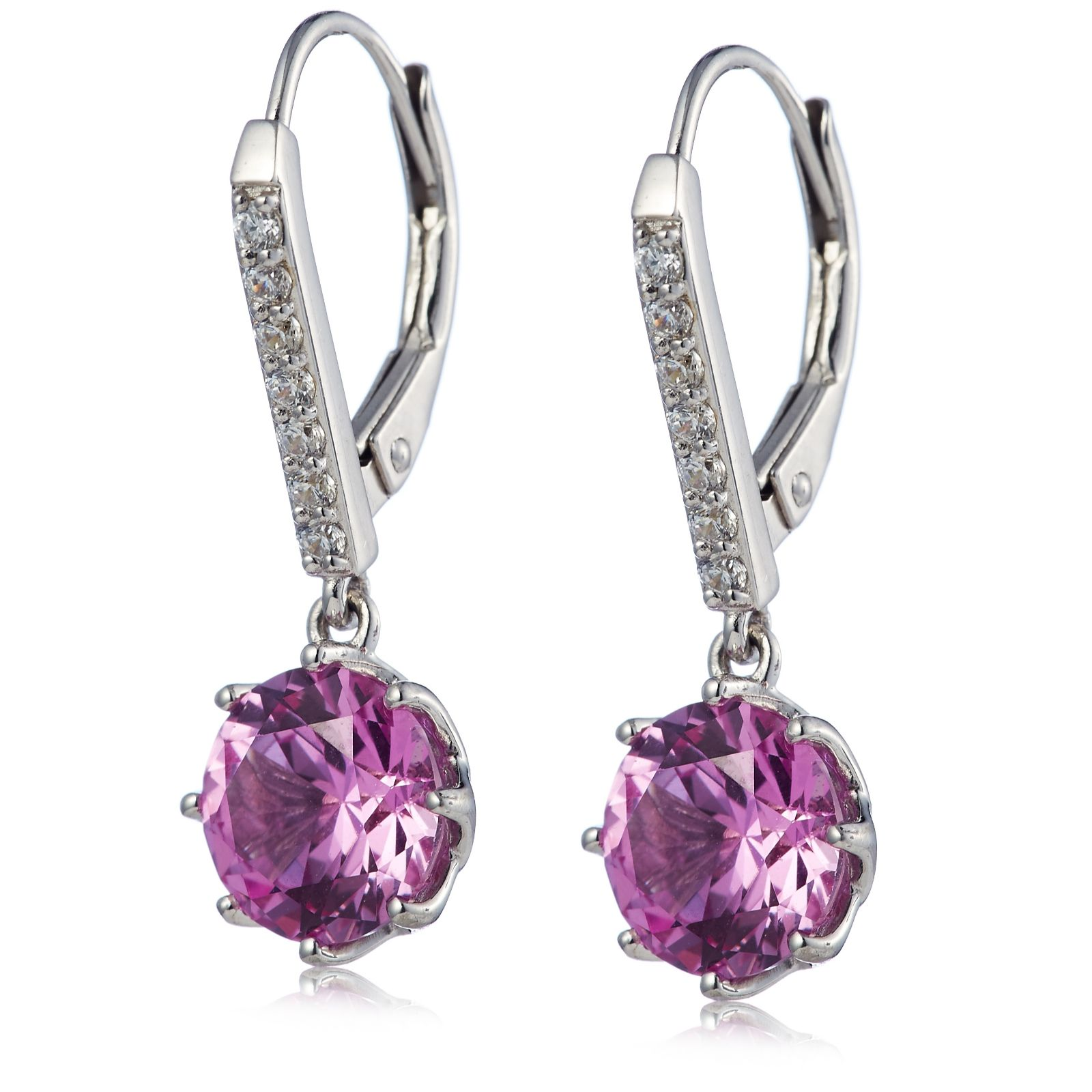 1108d8920 Diamonique 4ct tw 8 Prong Simulated Gemstone Leverback Earrings ...