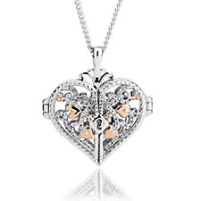 Clogau 9ct Rose Gold & Sterling Silver Heart Locket 56cm Necklace