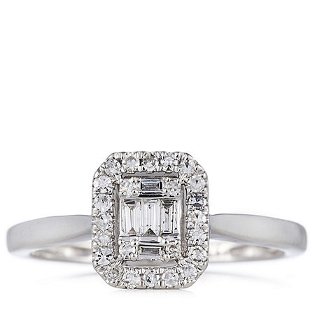 0.25ct Diamond Baguette & Round Cut Halo Ring 9ct Gold
