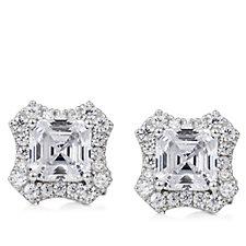 Diamonique by Tova 2ct tw Asscher Cut Stud Earrings Sterling Silver