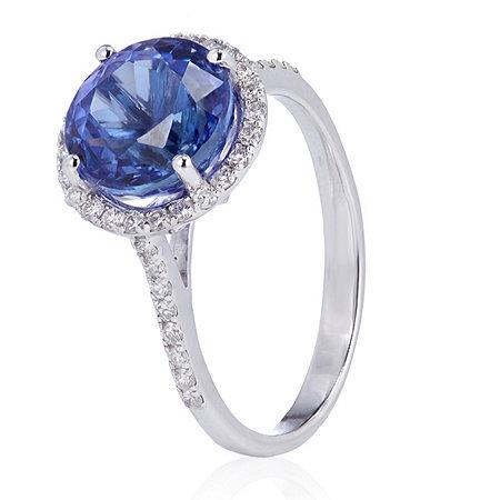 3.00ct AAAA Tanzanite & 0.28ct Diamond Ring 18ct Gold