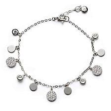 Escape by Melissa Odabash Pave Disc Bracelet Sterling Silver