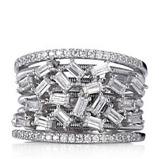 Diamonique Couture 1.5ct tw Band Ring Sterling Silver