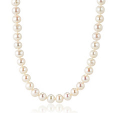 Honora 7-8mm Cultured Pearl Single Strand Necklace 14ct Gold Clasp