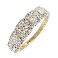 1.00ct Diamonds Halo Band Ring 9ct Gold