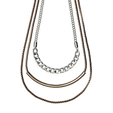 Pilgrim Triple Layered 50cm Necklace with 8cm Extender