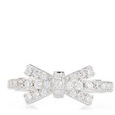 Diamonique 0.3ct tw Pretty Bow Ring Sterling Silver