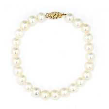 Honora 7-8mm Cultured Pearl Strand Bracelet 14ct Gold Clasp