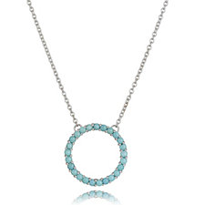 Sleeping Beauty Turquoise Circle of Life 50cm Necklace Sterling Silver