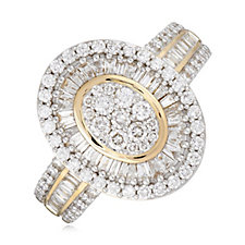 1.00ct Diamonds Oval Cluster Band Ring 9ct Gold