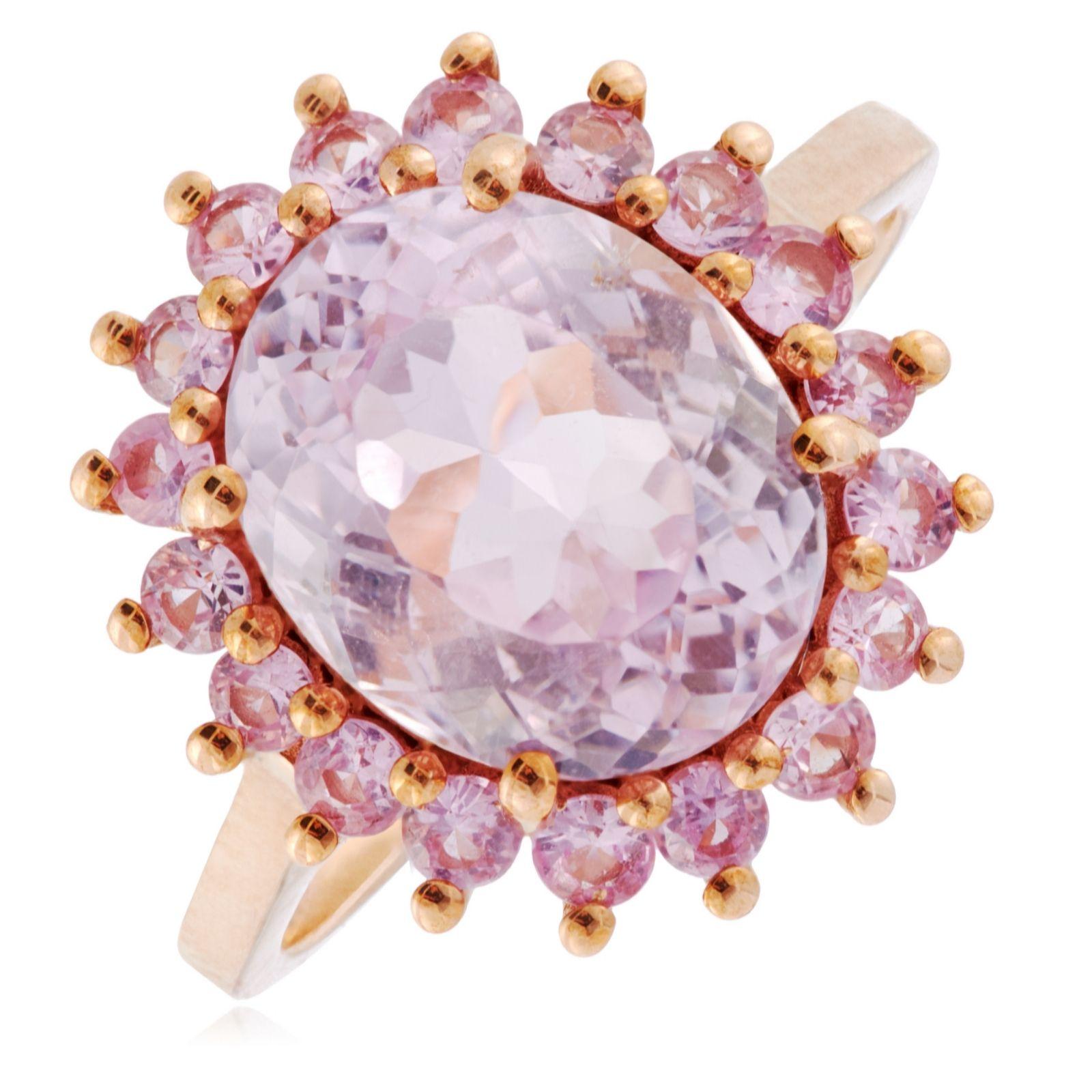 3ac249b17b2c0 4.00ct Kunzite & 0.70ct Pink Sapphire Halo Cocktail Ring 9ct Gold - QVC UK