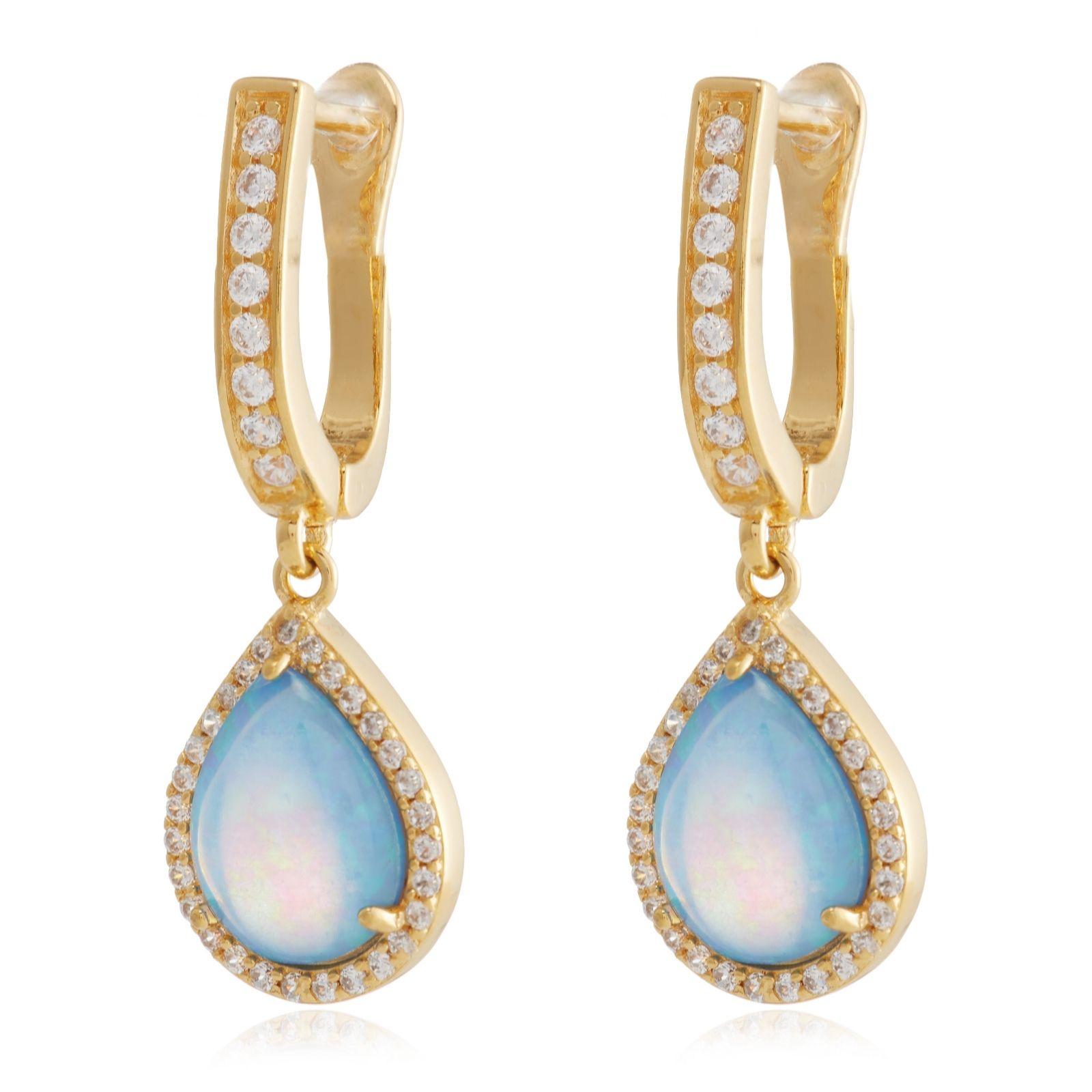 14272f17e Diamonique 1ct tw Opal Halo Leverback Earrings Sterling Silver ...
