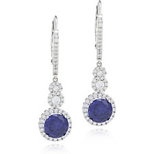 Diamonique 3.8ct tw Simulated Tanzanite Leverback Earrings Sterling Silver