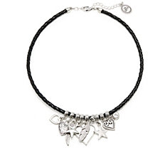 Bibi Bijoux Leather Multi Charm 43cm Necklace