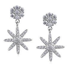 Diamonique 0.6ct tw Star Burst Drop Earrings Sterling Silver