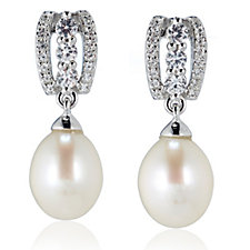 Honora 7-7.5mm Cultured Pearl White Topaz Drop Earrings Sterling Silver