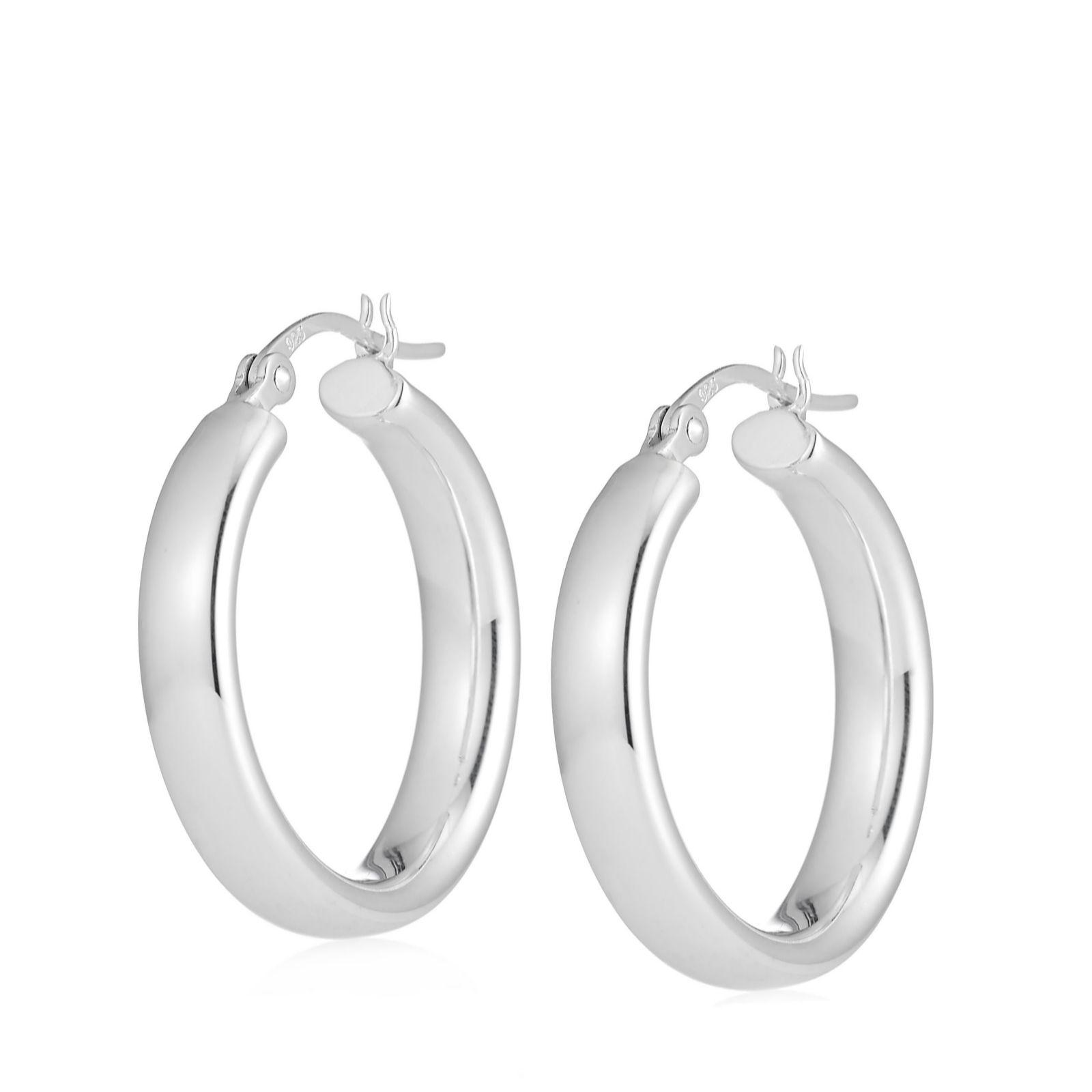 b83dbea7f Elements Silver Oval Tube Hoop Earrings Sterling Silver - QVC UK
