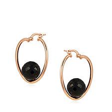 Bronzo Italia Suspended Stone Hoop Earrings