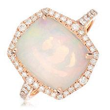 3.25ct Ethiopian Opal Cushion Cut & 0.37ct Diamond Ring 14ct Gold