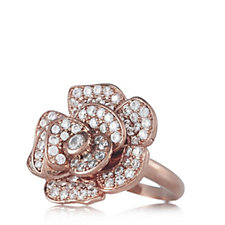Elizabeth Taylor 1.5ct tw Pave Simulated Diamond Flower Ring