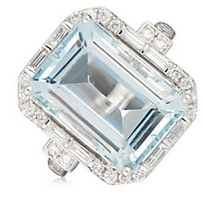 7.00ct Aquamarine Octagon Cut 0.50ct Diamonds Ring 14ct Gold