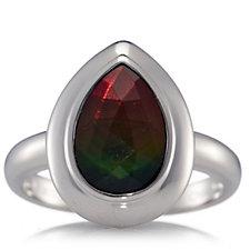 Canadian Ammolite Triplet Faceted Teardrop Ring Sterling Silver