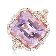 5.00ct Pink Amethyst & 0.34 Diamond Estate Collection Ring 14ct Gold
