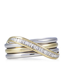 0.15ct Radiance Diamond Baguette Cut Wave Ring 9ct Gold