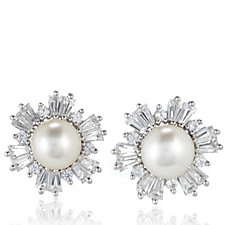 Honora 7-7.5mm Cultured Pearl White Topaz Stud Earrings Sterling Silver