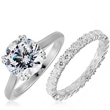 Diamonique 3.9ct tw Solitaire Ring Set Sterling Silver