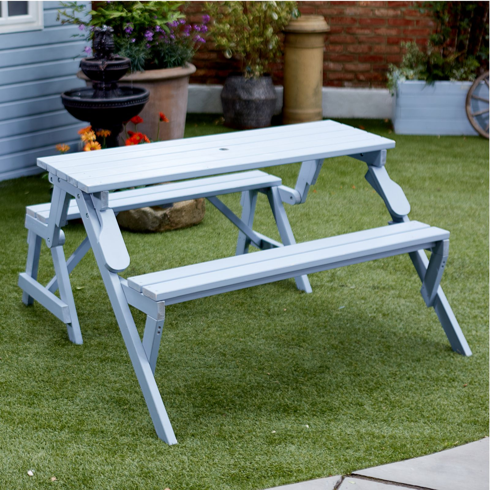 Garden Reflections Outdoor Foldable Table Amp Bench Qvc Uk